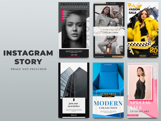 Satz von instagram stories template für digitales marketing