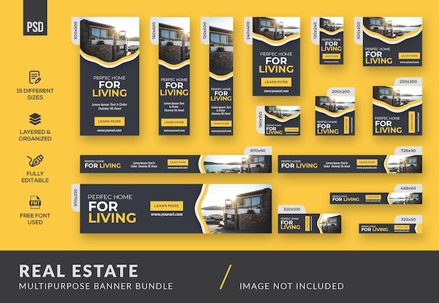 Saubere immobilien-mehrzweck-banner-bundle-vorlage