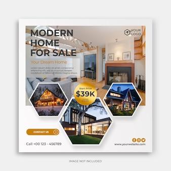 Saubere moderne social-media-instagram-vorlage mit home-for-sale-banner-anzeigen-konzept