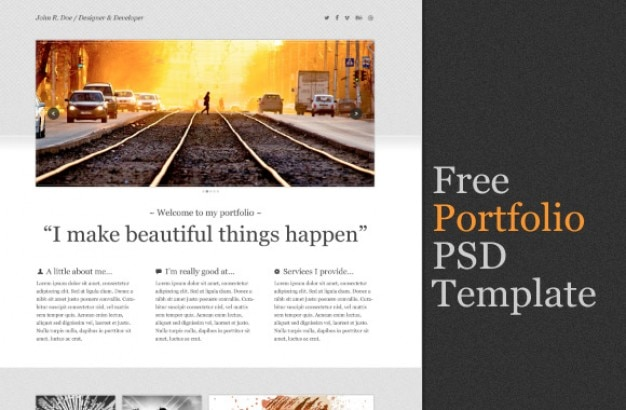 Saubere und einfache portfolio-vorlage