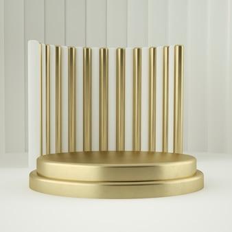 Sauberer weißgold-produktsockel, goldrahmen, gedenktafel, abstraktes minimalkonzept, leerzeichen. 3d-rendering
