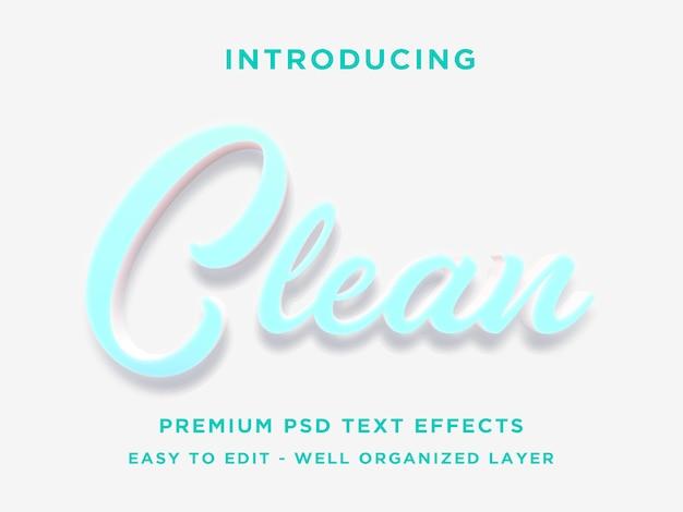 Sauberes 3d-textstil-effekt premium-psd