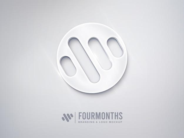 Sauberes logo-modell mit glänzend weißem effekt
