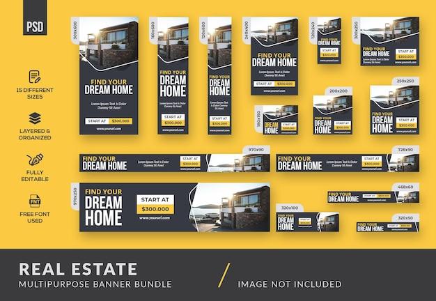 Sauberes minimalistisches immobilien-mehrzweck-banner-bundle