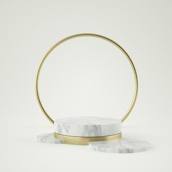 Sauberes weißgoldproduktsockel, goldrahmen, gedenktafel, abstraktes minimalkonzept, leerzeichen, sauberes design, luxus. 3d-rendering