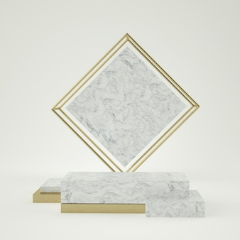 Sauberes weißgoldproduktsockel, goldrahmen, gedenktafel, abstraktes minimalkonzept, leerzeichen, sauberes design, luxus. 3d rendern