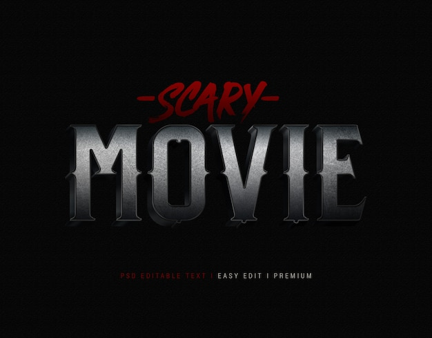Scary movie text effect mockup