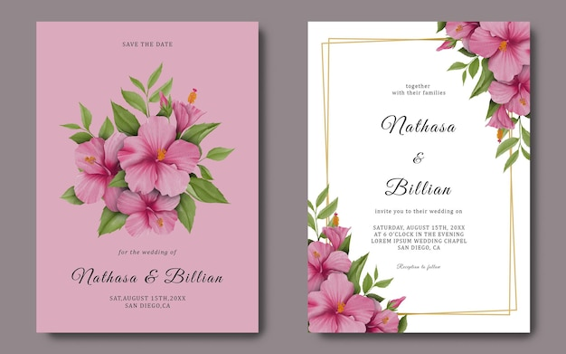 Schablone hochzeitskarte mit einem rosa hibiskusblumenaquarell