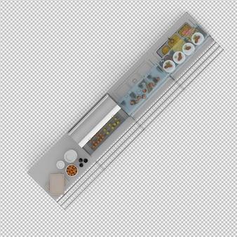 Schaufenster mit essen 3d render