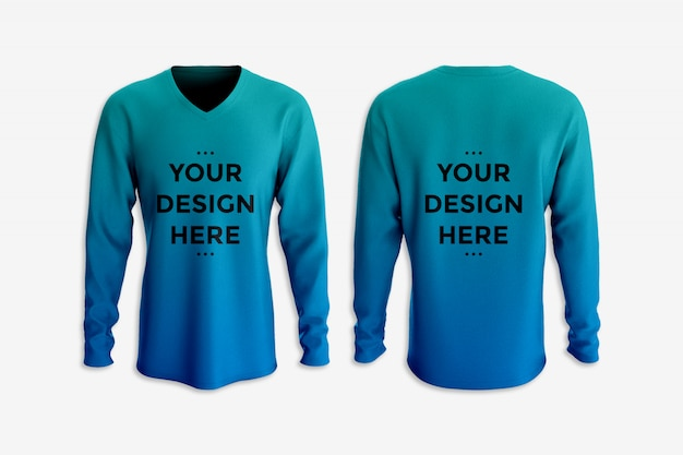Schaukasten des t-shirt modells mit langen ärmeln