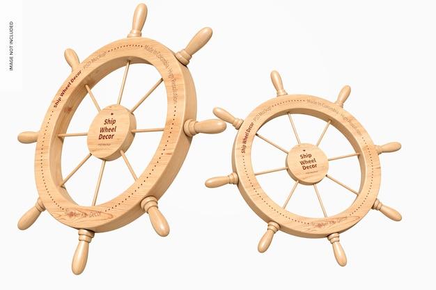 Schiffsräder dekor mockup, schwimmend