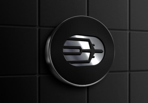 Schild wand schwarz silber rahmen logo mockup