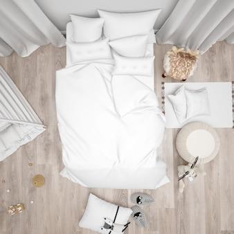 Schlafzimmer mit weißem bett und niedlicher moderner dekoration, draufsicht