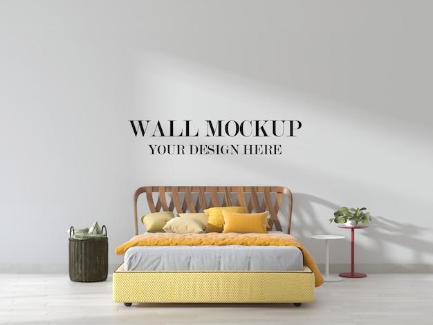 Schlafzimmer wandmodell mit senfgelbem akzent
