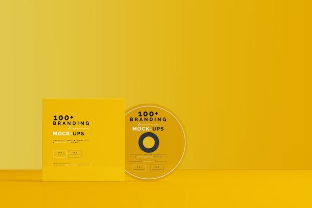 Schließen sie auf packaging of cd disk und sleeve mockup