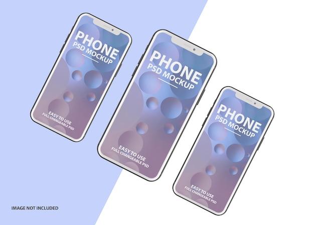 Schließen sie oben auf 3d luxus telefon bildschirm modell psd
