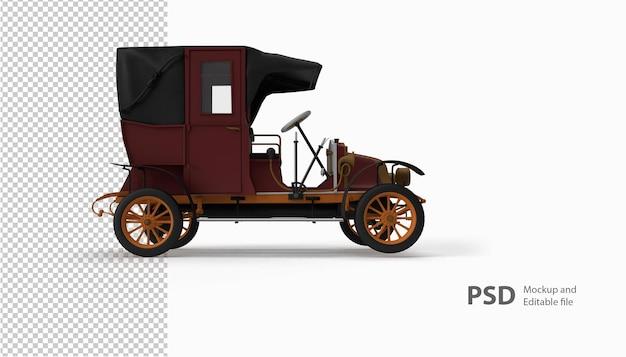 Schließen sie oben auf altem auto in 3d-rendering isoliert