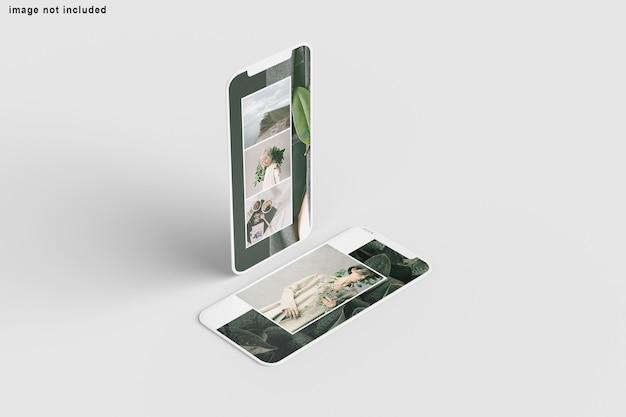 Schließen sie oben auf dem bildschirm telefonmodell isoliert
