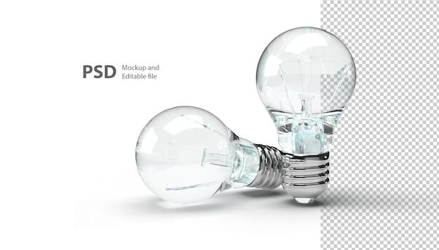 Schließen sie oben auf glühbirne isoliert in 3d-rendering