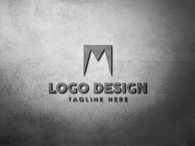 Schließen sie oben auf logo-modell auf fester wand