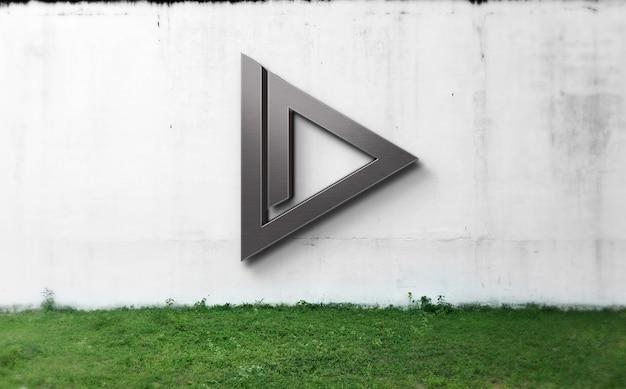 Schließen sie oben auf logo-modell auf grunge-wand