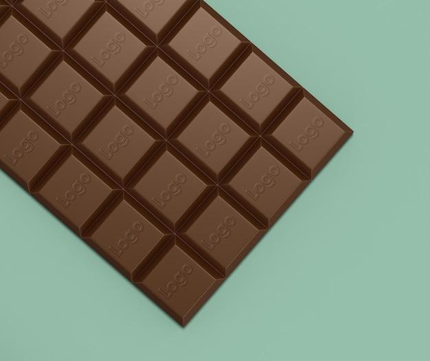Schließen sie oben auf logo-modell auf schokoladen-modell