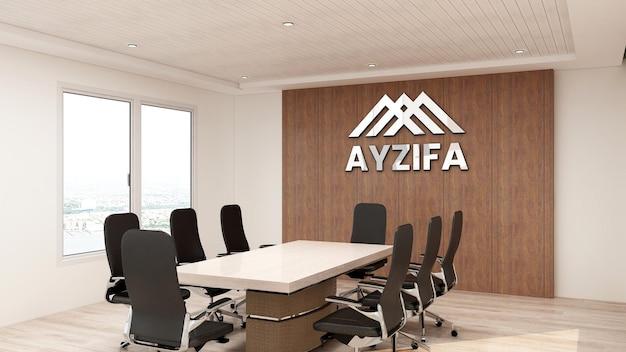 Schließen sie oben auf logo-modellbüro im besprechungsraum mit hölzerner innenarchitektur
