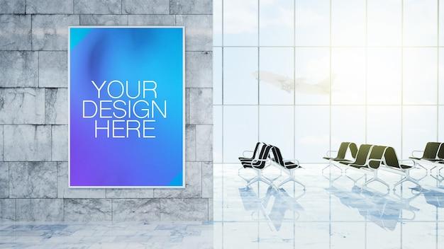 Schließen sie oben auf plakat am flughafenhalle modell Premium PSD