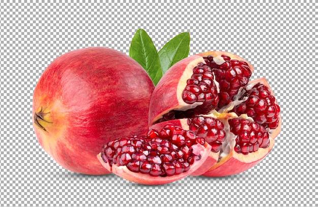 Schließen sie oben auf reifen granatapfelfrucht isoliert