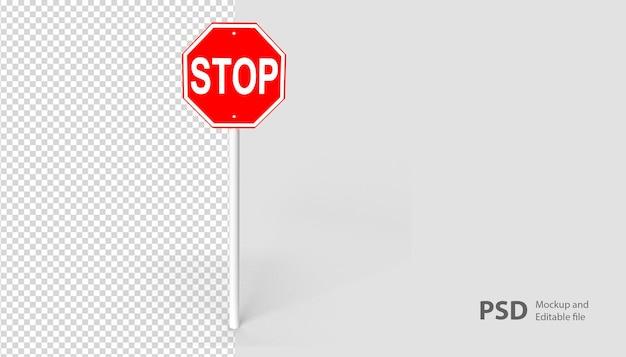 Schließen sie oben auf stoppschild im 3d-rendering isoliert