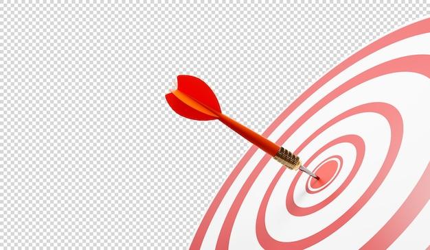 Schließen sie oben von einem volltreffer mit einem roten pfeil, schlagen sie die zielkreise 3d illustration