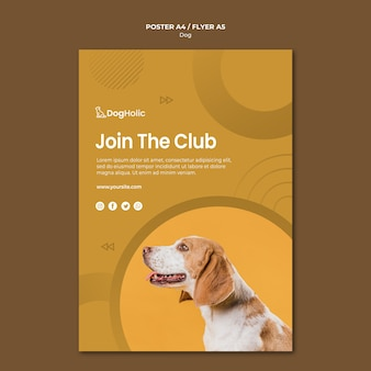 Schließen sie sich dem plakatdesign des clubhundes an