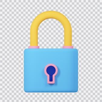 Schlosssymbol isoliert auf weißem 3d-gerenderten bild