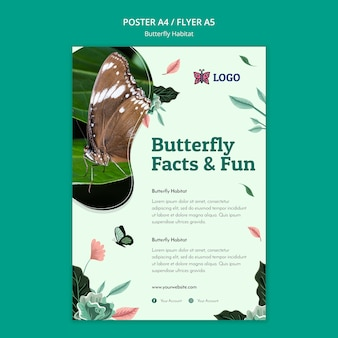 Schmetterlingslebensraumkonzeptplakatschablone