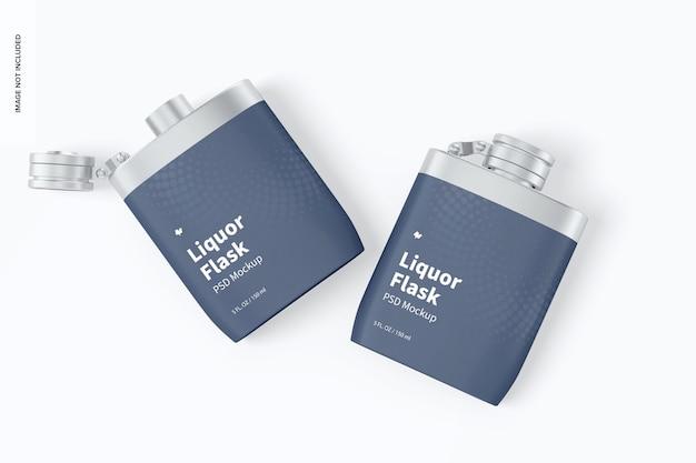Schnapsflaschen mit plastikfolienmodell, ansicht von oben