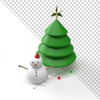 Schneemann und weihnachtsbaum lokalisiert in der 3d-darstellung