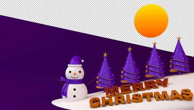 Schneemann und weihnachtsbaum mit frohen weihnachtstext im 3d-rendering