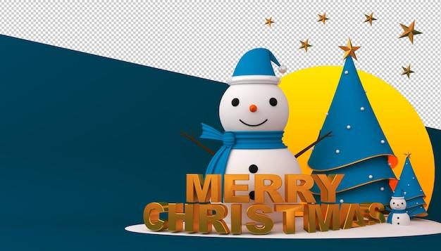 Schneemann, weihnachtsbaum und geschenkbox in der 3d-darstellung