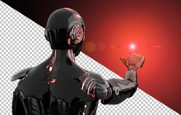 Schneiden sie den schwarzen und roten roboter aus, der finger zeigt