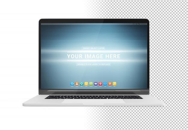 Schneiden sie modernen laptop mit schattenmodell heraus