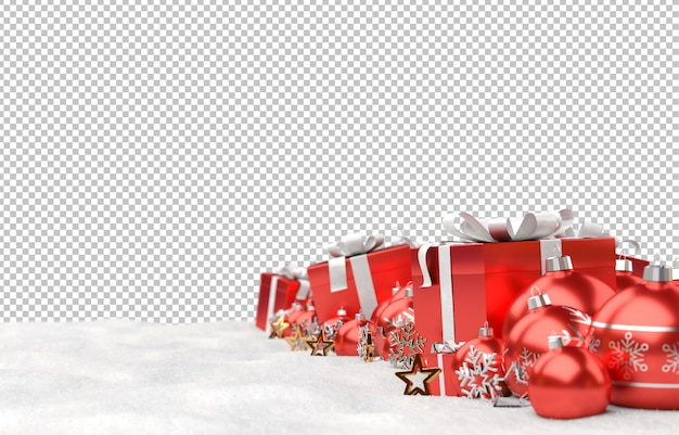 Schneiden sie rote weihnachtskugeln und -geschenke auf schnee aus