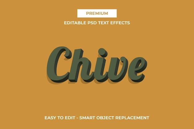 Schnittlauch - 3d pantone farbtext-effektschablone