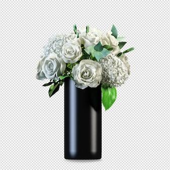 Schöne blumen in vase 3d rendering isoliert