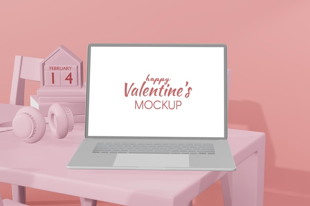 Schöne glückliche valentinstag-laptop-vorlage im 3d-modell