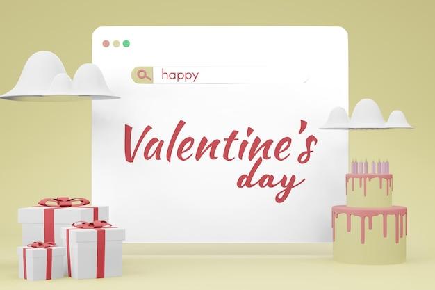 Schöne glückliche valentinstag-website-bildschirmvorlage im 3d-modell