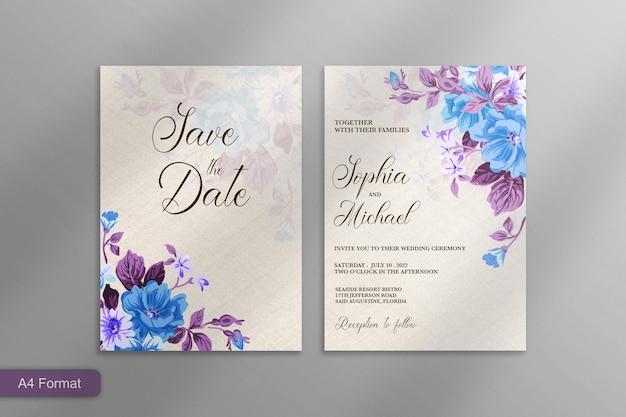 Schöne hochzeitseinladung mit blauer lila blume