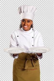 Schöne köchin der brasilianischen küche auf transparentem raum