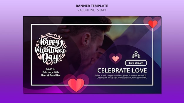 Schöne valentinstag banner vorlage mit foto