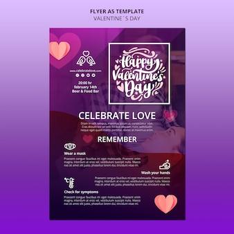 Schöne valentinstag flyer vorlage mit foto