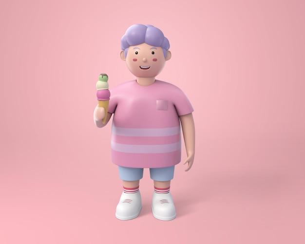 Schöner fetter junge, der eiscreme in der hand auf rosa hält